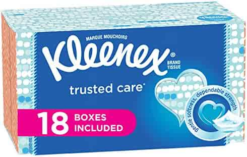 Kleenex Trusted Care Everyday Facial Tissues, Flat Box, 210 Tissues per Flat Box, 18 Packs