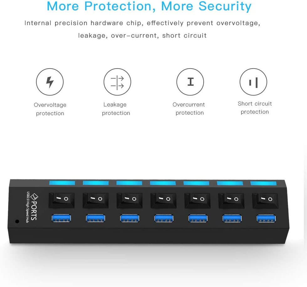 Support 1TB Color : Black Leya Networking Products 7 Ports USB 3.0 HUB Super Speed 5Gbps White Plug and Play