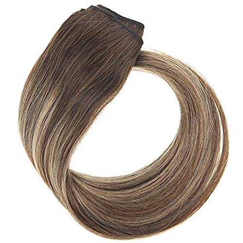 YoungSee 18inch Clip in Hair Extensions Dark Brown Fading to Caramel Blonde Mix Dark Brown Human Hair Clip in One Piece Hair Extensions 3/4 Full Head 70G