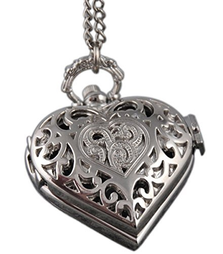 VIGOROSO Women's Steampunk HEART Harry Potter Locket Style Pendant Necklace Chain Pocket Watch in Box