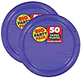 Amscan Big Party Pack 100 Count Paper Dessert Plates, 7-Inch, New Purple
