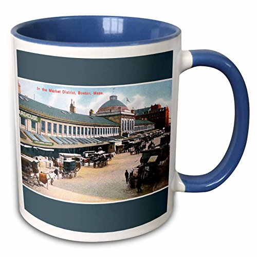 3dRose BLN Vintage US Cities and States Postcards - In the Market District, Boston Mass Carriages with Horses - 15oz Two-Tone Blue Mug -