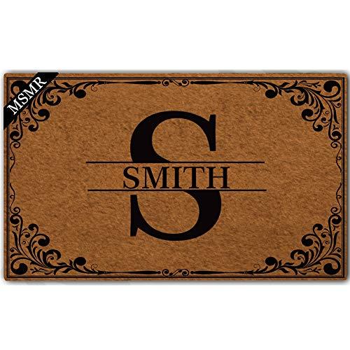 (MsMr Custom Doormat Monogrammed Pattern Personalized Name and Letter Monogram Non Slip Entrance Indoor Outdoor Welcome Door Mat 30
