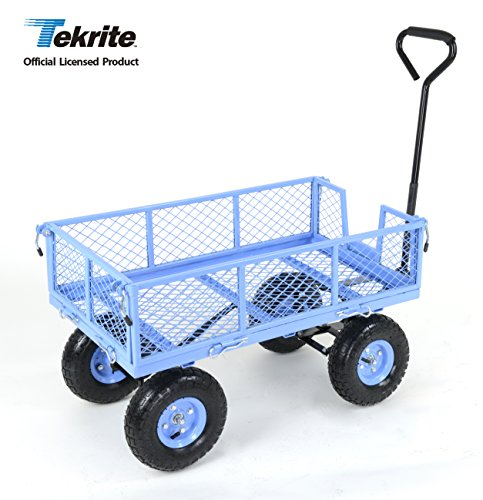 TEKRITE Heavy Duty Lawn/Garden Utility Cart/Wagon With Removable Side Meshes, 400 lbs Capacity, Blue