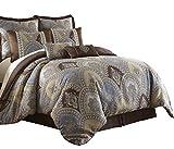 110 Inch Wide Comforters Sterling Creek Venetian 8-Piece Medallion Floral Jacquard Oversized Comforter Set (King), Multi