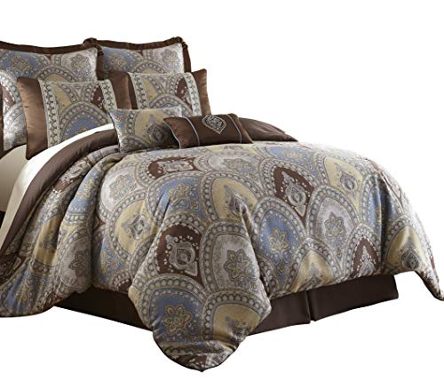 Sterling Creek Venetian 8-Piece Medallion Floral Jacquard Oversized Comforter Set (Queen)