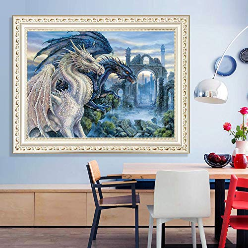 DIY 5D Diamond Painting by Number Kits Crystal Rhinestone Embroidery Paint with Diamonds 12x16inch Dragon Full Drill Canvas Art Picture for Home Wall Decor