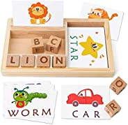Coogam Spelling Games, Wooden Matching Letters Toy with Words Flash Cards, Alphabets ABC Learning Educational