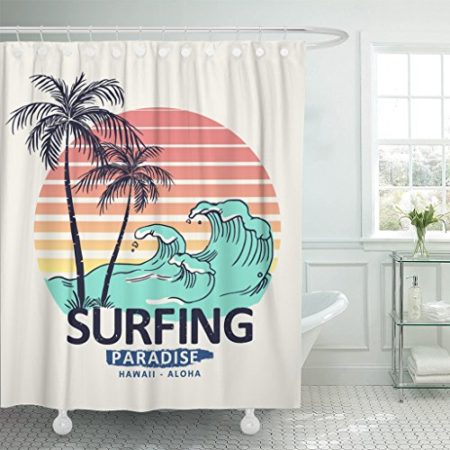 Emvency Shower Curtain Wave Hawaii Aloha Surf California Sea Ocean Beach Badge Waterproof Polyester Fabric 60 x 72 inches Set with Hooks