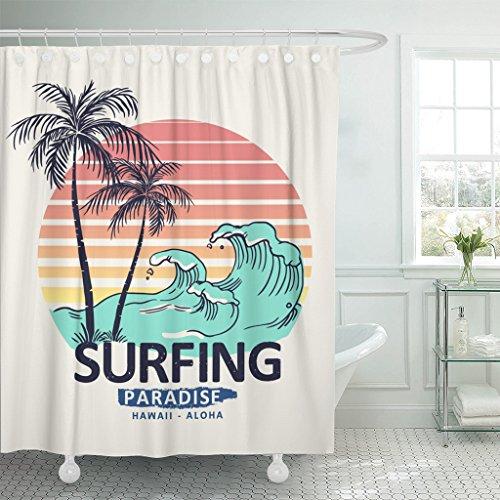 (Emvency Shower Curtain Wave Hawaii Aloha Surf California Sea Ocean Beach Badge Waterproof Polyester Fabric 60 x 72 inches Set with Hooks)