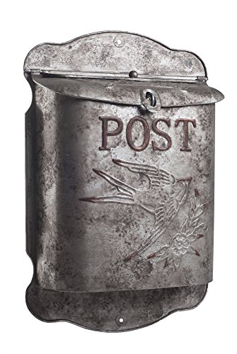 Rustic Galvanized Metal Bird Post MailBox - Shabby Chic Style Decor (Shabby Chic Paint)