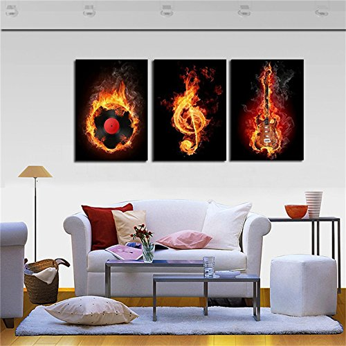 Framed Modern Kitchen Canvas Wall Art Paintings Music Art Artwork Oil Painting Set Bar Dinning Room Decor Pictures 3 Panels Picture For Home Decoration Easy to - Photo Frames Reclaimed Wood Uk