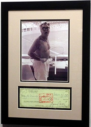 Chicago Cubs Harry Caray Signed Cancelled Check with Photo (Framed)