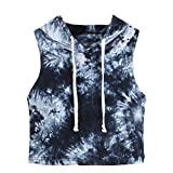 COOKI Women Shirts Teen Girls Juniors Casual Summer Tie Dye Sleeveless Crop Top Hoodie Hooded T-Shirt Blouses