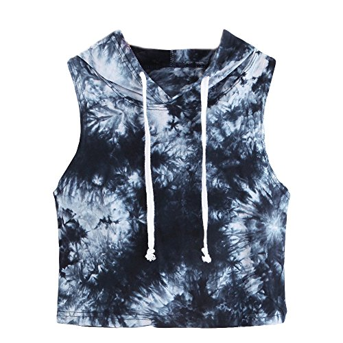 COOKI Women Shirts Teen Girls Juniors Casual Summer Tie Dye Sleeveless Crop Top Hoodie Hooded T-Shirt Blouses by COOKI_Women Top (Image #6)