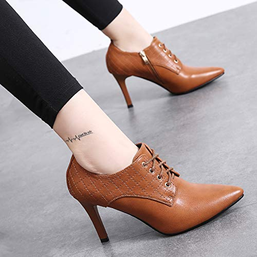 Pointed Single Shoes Color 8Cm Fine Heels Sugar And Heel Women Working Women'S Laces Six Shoes Spring Deep KPHY Autumn Shoes High Thirty Shoes CqOFwPS