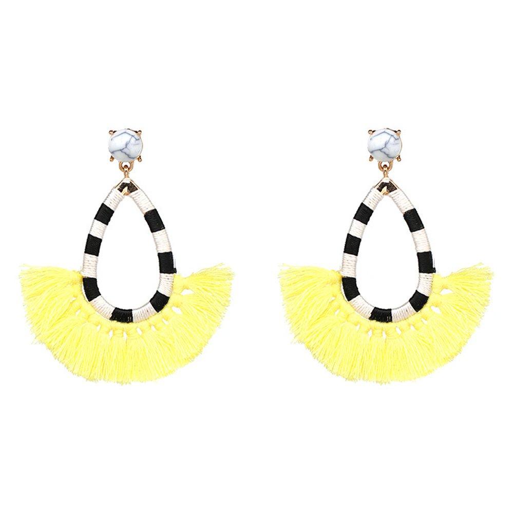 mnefel Beaded Tassel Earrings Long Fringe Drop Bohemian Earings