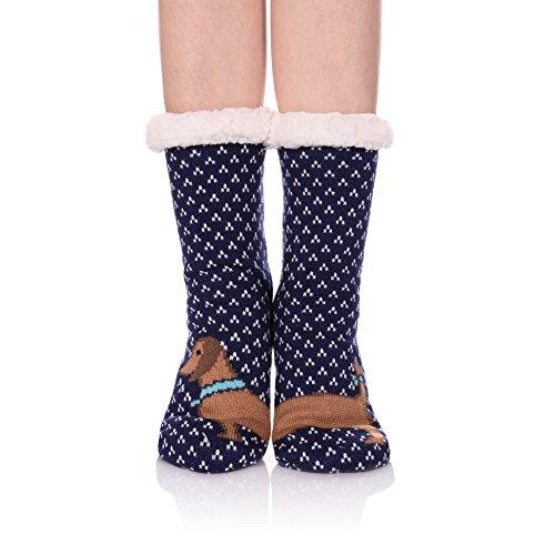 LINEMIN Women Slipper Sock - Super Cute Cartoon Animal Soft Sherpa Lined Nonskid Fuzzy Cozy Winter Socks (Asymmetry Dog)