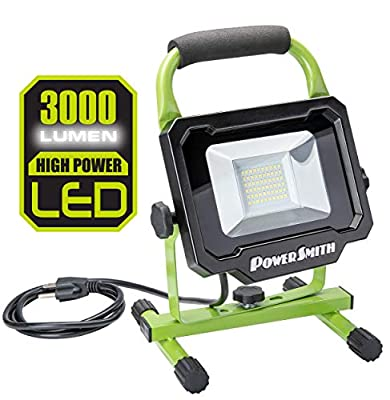 PowerSmith PWL130S 3,000 Lumen LED Work Light with Adjustable Metal Stand and 5 ft Power Cord, Green