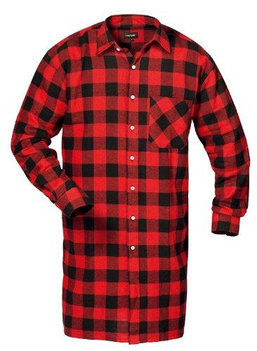 Flanellhemd gewebt extralang rot/sw Größe: 3XL Farbe: rot