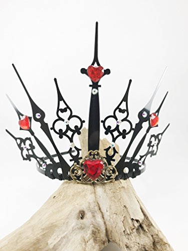Queen of Hearts Crown Steampunk Clock Hand TIARA Crown, Elven Fairy Costume Tiara, Black Gothic Tiara