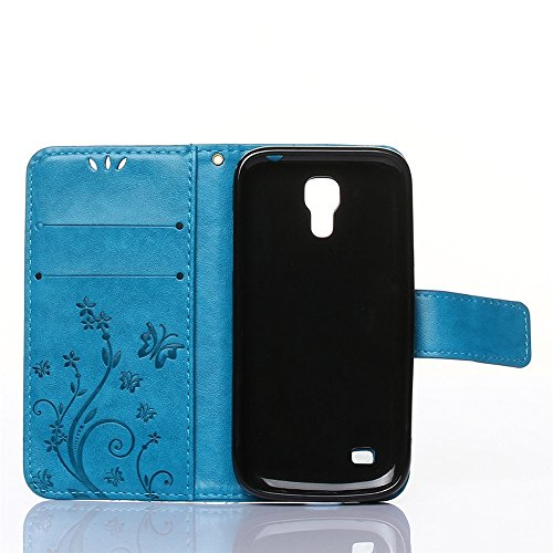 COOLKE Retro Mariposas Patrón PU Leather Wallet With Card Pouch Stand de protección Funda Carcasa Cuero Tapa Case Cover para Samsung I9190 Galaxy S4 mini - Rose Azul