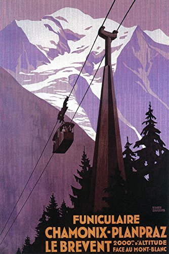 (Chamonix-Mont Blanc, France - Funicular Railway to Brevent Mt. - Vintage Advertisement (12x18 Signed Print Master Art Print w/Certificate of Authenticity - Wall Decor Travel Poster) )