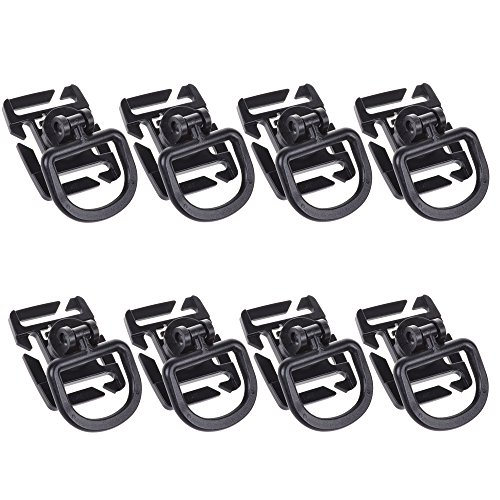 BCP Pack of 8pcs 360 Degrees Swivel 8-positions Rotating Base D-ring Clips for Molle PALS Webbing