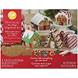 Gingerbread House Kit Build It Yourself Mini Village - Christmas Fun decorating, Kit Includes: 4 Sets Of House Panels, 4 Types Of Candies, Icing, Decorating Bags - Bundled With Extra Candy!