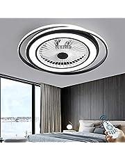 Moderne Zwarte LED Dimbare Plafondlamp Plafondventilatoren Met Verlichting Stille Ventilator Plafondlamp Verstelbaar 3 Windsnelheid Met Afstandsbediening Slaapkamer Woonkamer Eetkamer Kantoor