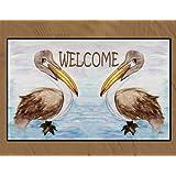 Brown Pelicans Welcome Art Floor Mat Large 36 X 60