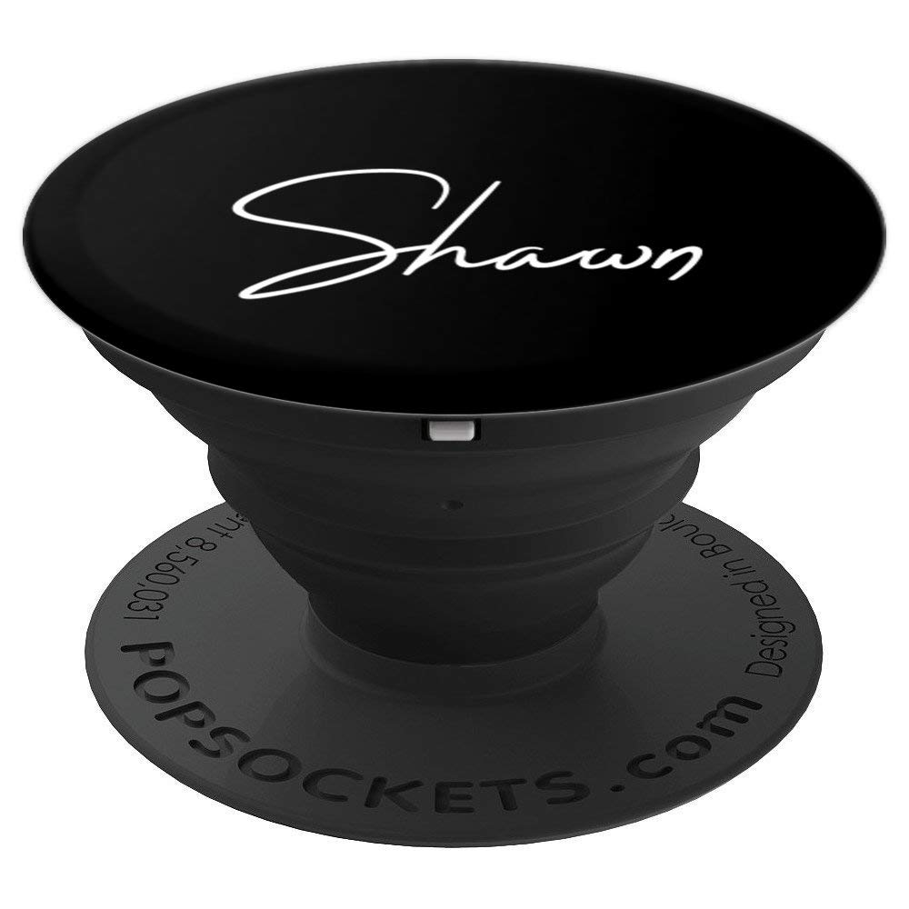 Shawn Name White on Black - Shawn PopSockets Grip and Stand for Phones and Tablets