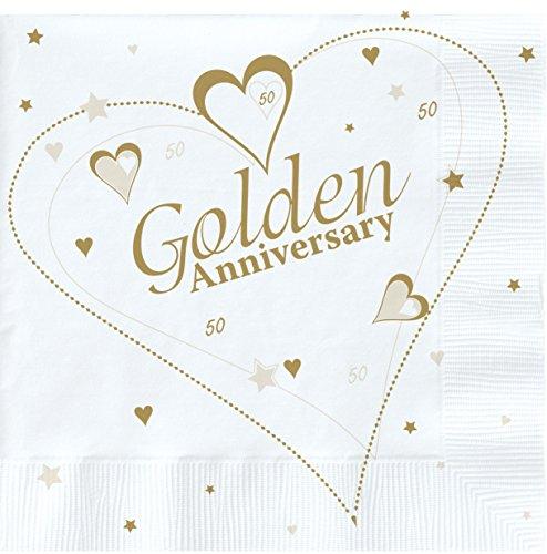 Napkins 18 X Luxury Golden 50Th Wedding Anniversary Party -