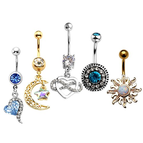 JOVIVI 5pcs Novelty Design Belly Button Rings Stainless Steel Navel Body Piercing Jewelry, with Gift Box
