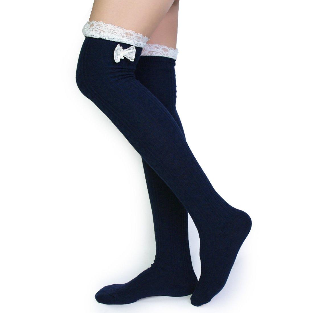 580bdb18703 Amazon.com  Kilofly Womens Lace Trim Knee-High Boot Socks