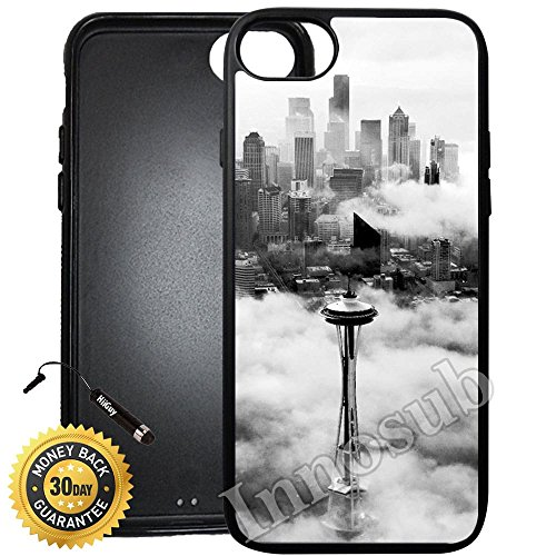(Custom iPhone 7 Case (Seattle Space Needle Tower) Edge-to-Edge Rubber Black Cover with Shock and Scratch Protection | Lightweight, Ultra-Slim | Includes Stylus Pen by Innosub)