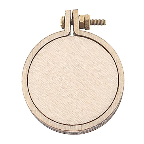 Towashine Mini Wood Embroidery Hoop Kit Round Cross Stitch Hoops Craft Tool Necklace (Hoop Necklace Necklace Hoops)