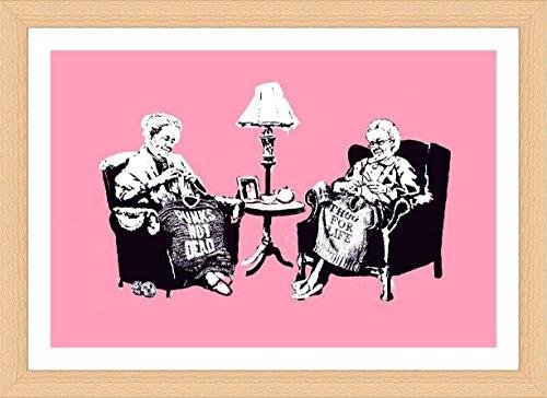 Alonline Art - Old Women Knitting Banksy Beech Framed Poster Print on 100% Cotton