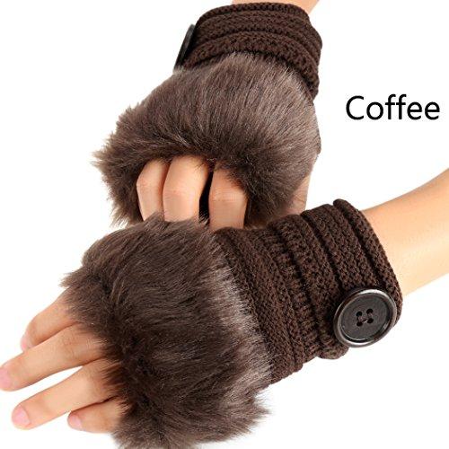 eshionレディース暖かい冬指なしかぎ針編みニット手袋Fauxファー