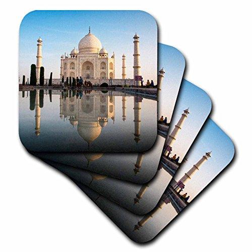 (3D Rose Agra the Taj Mahal Composite Image Digitally Edited Ceramic Tile Coasters, Multicolor)