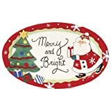 Fitz and Floyd Holiday Sentiment Tray Plate Merry and Bright NEW