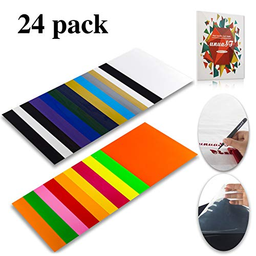 "1ST East Heat Transfer Vinyl HTV Bundle Variety Pack Assortment for T Shirts 12x10"" 24 Sheets Iron On Vinyl Colored Starter Kit Compatible with Cameo and Cricut Bonus 1 Weeding Tweezers and Color Chart price tips cheap"