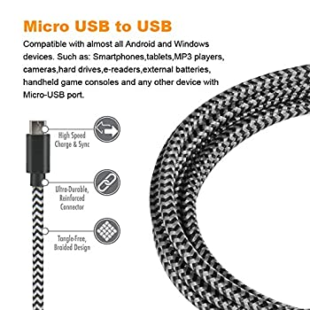 Gopala Micro Usb Cable Android Charger [6-pack 5ft] Nylon Braided Fast Sync&charging Cord For Android, Samsung, Nexus, Lg, Htc, Nokia, Sony, & More 3