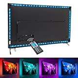 under cabinet hdtv - Nexlux TV backlight, 9.8ft Black Non-waterproof USB LED Strip Lights Kit 20 Colors 5050 LEDs Bias Lighting with 44-key IR Remote Controller for 46 inch~60 inch HDTV PC Monitor Home Theater Decoration
