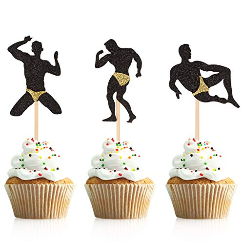 Donoter 36 Pcs Male Dancers Strippers Cupcake Toppers