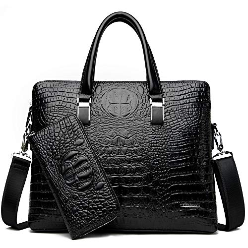 HTDZDX Men's Bag Fashion Business Crocodile Pattern Handbag Shoulder Document Computer Bag Gift Bag & Wallet (Color : Black)
