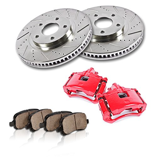 FRONT Powder Coated Red [2] Calipers + [2] Rotors + Quiet Low Dust [4] Ceramic Pads Performance (Eldorado Etc Front Brake Pads)