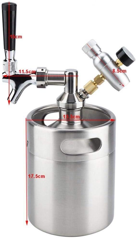 Beer Brewing - Mini Stainless Steel Beer Keg With Faucet, Pressurized Home Beer Brewing Craft, Beer Dispenser Growler, Mini Beer Keg System - by Parkinson LLC