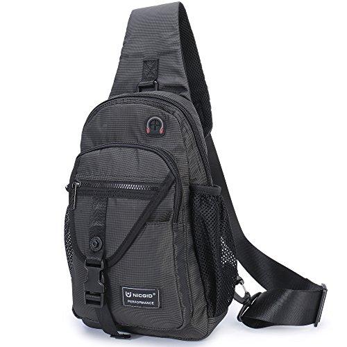 Nicgid Sling Bag Chest Shoulder Backpack Crossbody Bags For iPad Tablet Outdoor Hiking Men Women (Black) ()