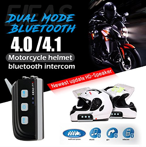TTS Motorcycle Helmet Bluetooth Intercom Full Duplex Interphone MAX 4Riders Group Talking Simutaneously for Outdoor Sports Motorbike Skiing Camps Instant Communication Two-way Radio (2Units) by EJEAS (Image #2)